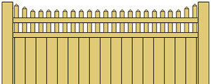 Vinyl Privacy Fence w/ Stepped Pickets