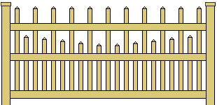 Classic Vinyl Picket Fence Staggered Scalloped
